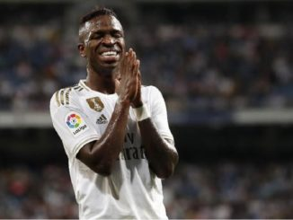Vinicius Junior emotional celebration after scoring