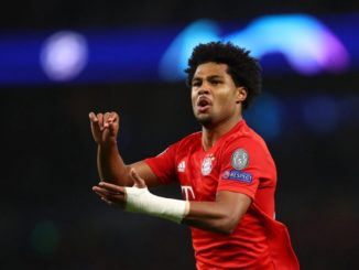 Gnabry with his tradermark celebration in London