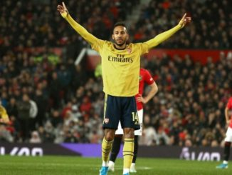 Aubameyang celebrates scoring at Old Trafford