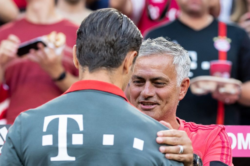 Jose Mourinho and Niko Kovač during a preseason friendly between Manchester United and Bayern Munich in 2018. Credits: Getty Images