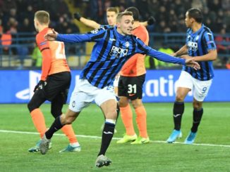 Castagne celebrates the opening goal for Atalanta, as the Italians qualify for the first time.